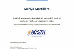 Potvrzení absolvování výcvikového kurzu somatické koučování - ICF ACSTH