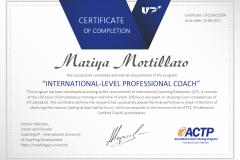 """Potvrzení absolvování výcvikového kurzu """"International-Level Professional Coach"""" - ICF ACTP"""