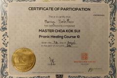 Potvrzení absolvování výcvikového kurzu Pranic Healing